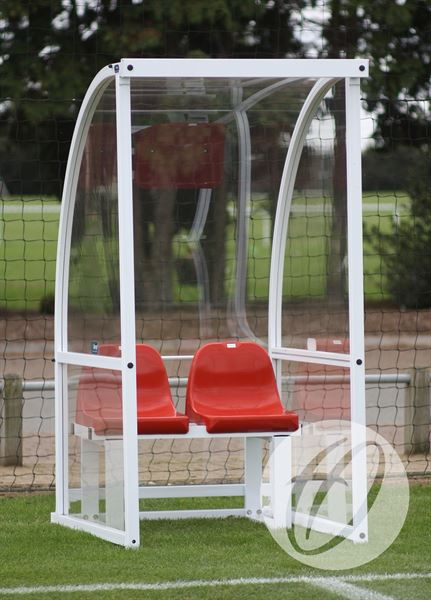 1m Curved Officials Shelter c/w Red Seats
