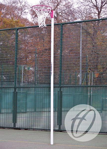 NB3P Netball Posts - Pink Ring / White Post Socketed